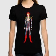 Bowie Fashion 3 SMALL Womens Fitted Tee Black
