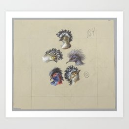 French antique wallpaper: crested birds Art Print
