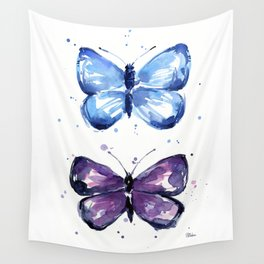 Butterflies Watercolor Blue and Purple Butterfly Wall Tapestry