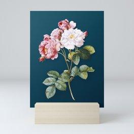 Vintage Floral Pink Damask Rose Botanical on Teal Mini Art Print