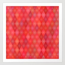 Geometric red pattern Art Print