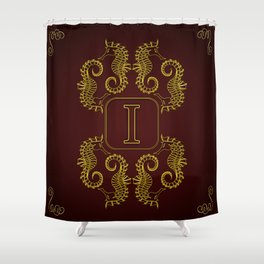 letter I seahorse Shower Curtain