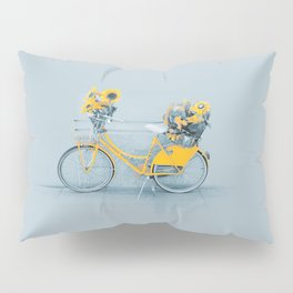 Yellow vintage bike with sunflowers Pillow Sham