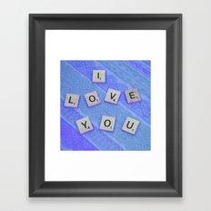 I Love You Darling in Blue Framed Art Print