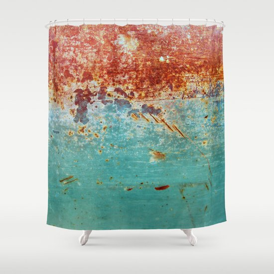 Teal Rust Shower Curtain By RichCaspian