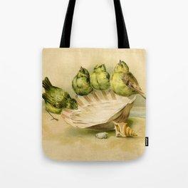 Vintage Yellow Birds on Seashell Tote Bag