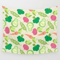 vegetable Wall Tapestries featuring VEGETABLE PARTY! by Claudia Ramos Designs