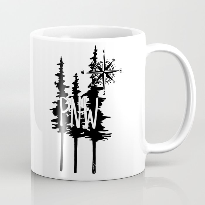 PNW Trees & Compass Coffee Mug