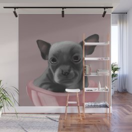 Grey chihuahua in a pink bowl Wall Mural