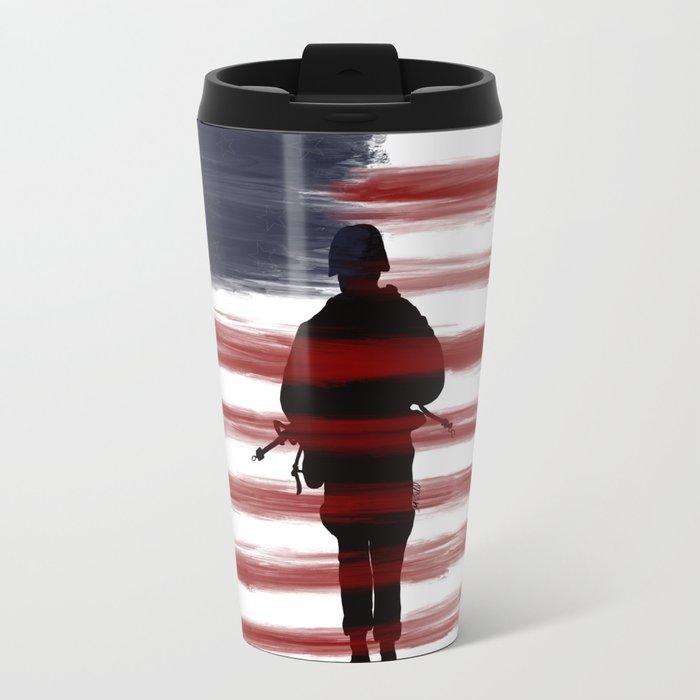 Soldier and Flag - Patriotic Metal Travel Mug