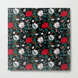 branched, jacquard, looking floral and flowers pattern design Metal Print