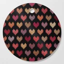 Colorful Knitted Hearts VII Cutting Board