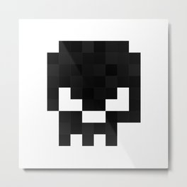 8bit pixelated skull. Metal Print
