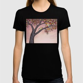 cedar waxwings on the stained glass tree T-shirt