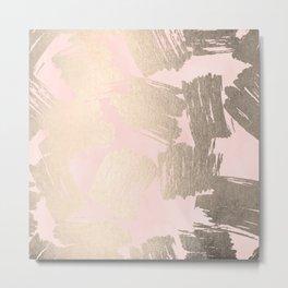Modern Pink + Gold Metal Print