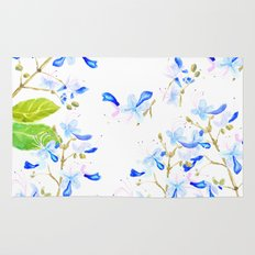 blue butterfly flowers arrangement watercolor Rug