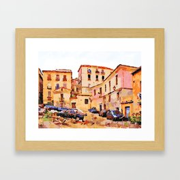 Catanzaro: buildings of the historic center with cars Framed Art Print