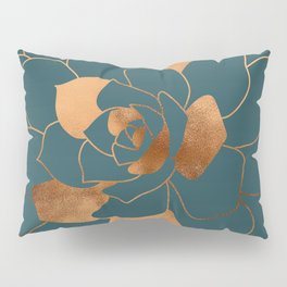 Abstract Metal Copper Blossom on Emerald Pillow Sham