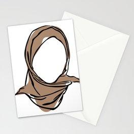 Hijab Woman 01, Single Line Art Colored Set Stationery Cards