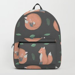 Foxes on gray background Backpack