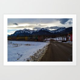 CN rolling through the Rockies, Near Brule Alberta Art Print
