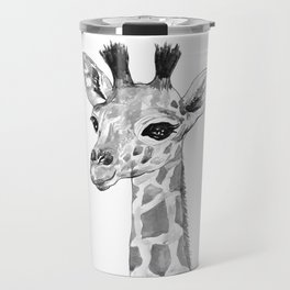 baby giraffe, black and white Travel Mug