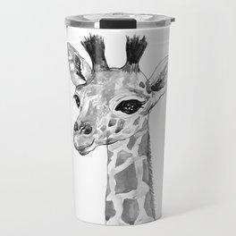 baby giraffe, black and white Travel Mug
