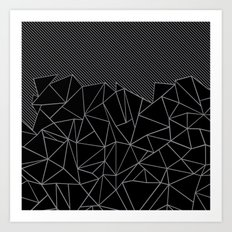 Ab Lines 45 Grey and Black Art Print