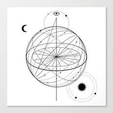 Alchemy symbol with eye, moon, sun Canvas Print