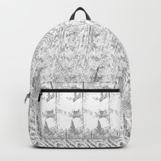 Feather Pattern | Grey and White Backpack