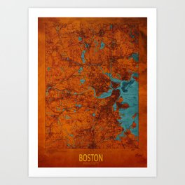 Boston 1893 old map, blue and orange artwork, cartography Art Print