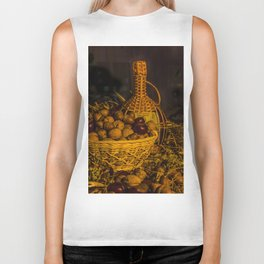 Still-life with nuts and wine Biker Tank