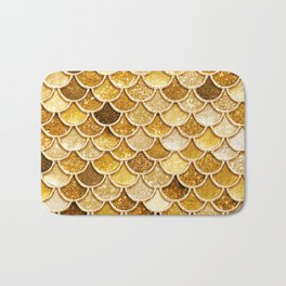 Gold Trendy Glitter Mermaid Scales Bath Mat