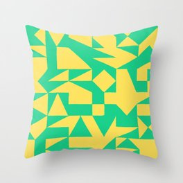 English Square (Yellow & Green) Throw Pillow