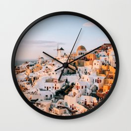 Dreaming at Dusk   Santorini, Greece Wall Clock