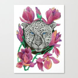 Snow panther hidden in magnolias Canvas Print
