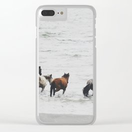 Horses running wild Clear iPhone Case