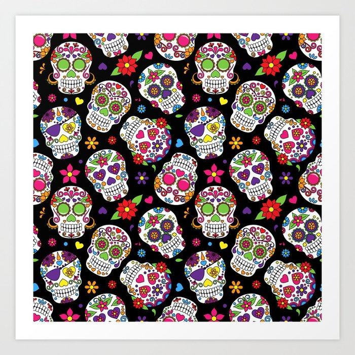 Colorful Sugar Skulls Art Print By Justeverylittlething Society6