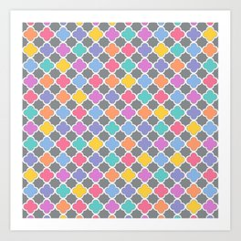 Rainbow & Gray Quatrefoil Art Print