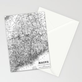 Vintage Map of Maine (1894) BW Stationery Cards