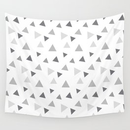 Modern geometrical pastel gray white triangles pattern Wall Tapestry