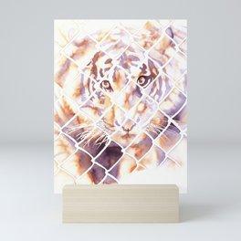 Watercolor painting of tiger looking through cage at San Diego Zoo Safari Park- California Mini Art Print