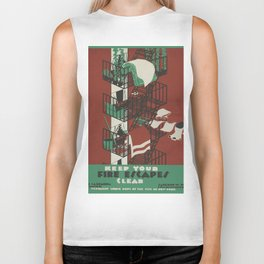 Vintage poster - Keep Your Fire Escapes Clear Biker Tank