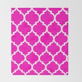 MOROCCAN PINK AND WHITE PATTERN Throw Blanket