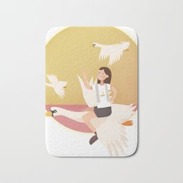 Fly Girl And White Swan Badematte