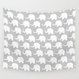 Elephant Parade on Grey Wall Tapestry