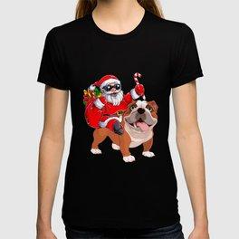 Santa Claus Is Riding A Bulldog Funny Christmas T-shirt