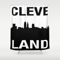 cleveland Shower Curtains featuring CLEVELAND SKYLINE by Christina Sadowski