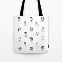 nicolas cage Tote Bags featuring 100 Portraits of Nicolas Cage by Madelin Woods