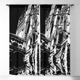 Cambridge Spires in Black & White Blackout Curtain